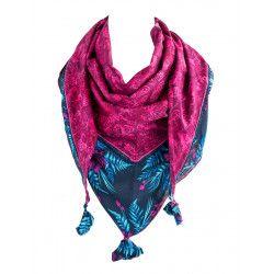 Foulard triangle bleu indigo et rose fuchsia papillons