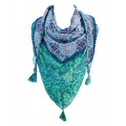 Foulard triangle bleu et vert d'eau