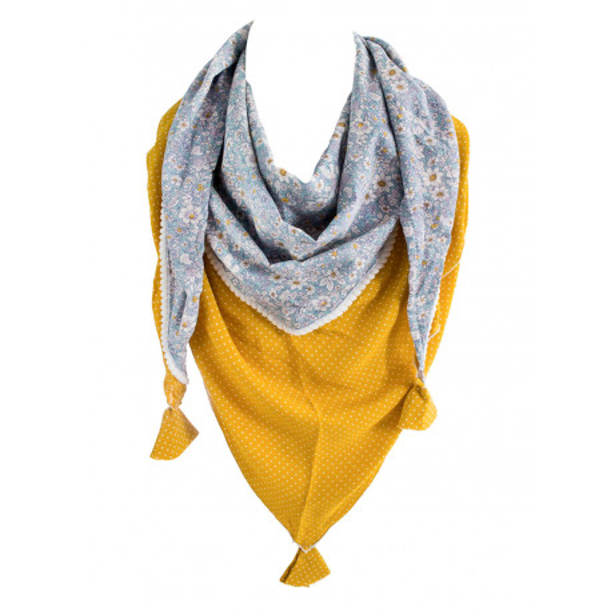 Foulard triangle jaune moutarde et fleurs bleu