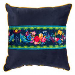 Coussin velours déhoussable bleu nuit et fleurs