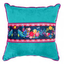Coussin velours déhoussable bleu turquoise et rose fleurs
