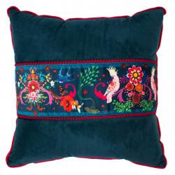 Coussin velours déhoussable bleu nuit et rouge oiseaux
