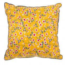 Coussin carré déhoussable jaune moutarde et fleurs cerisiers