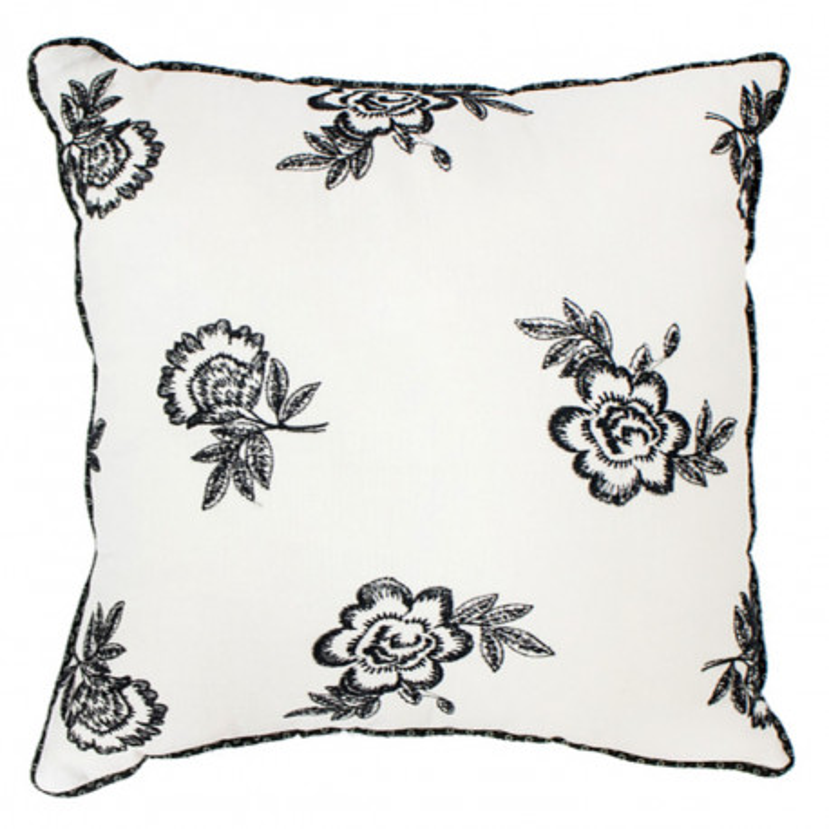 Coussin carré déhoussable blanc et roses noires brodées