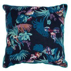 Coussin carré déhoussable bleu nuit jungle feuilles