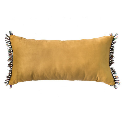 Coussin rectangle velours jaune moutarde