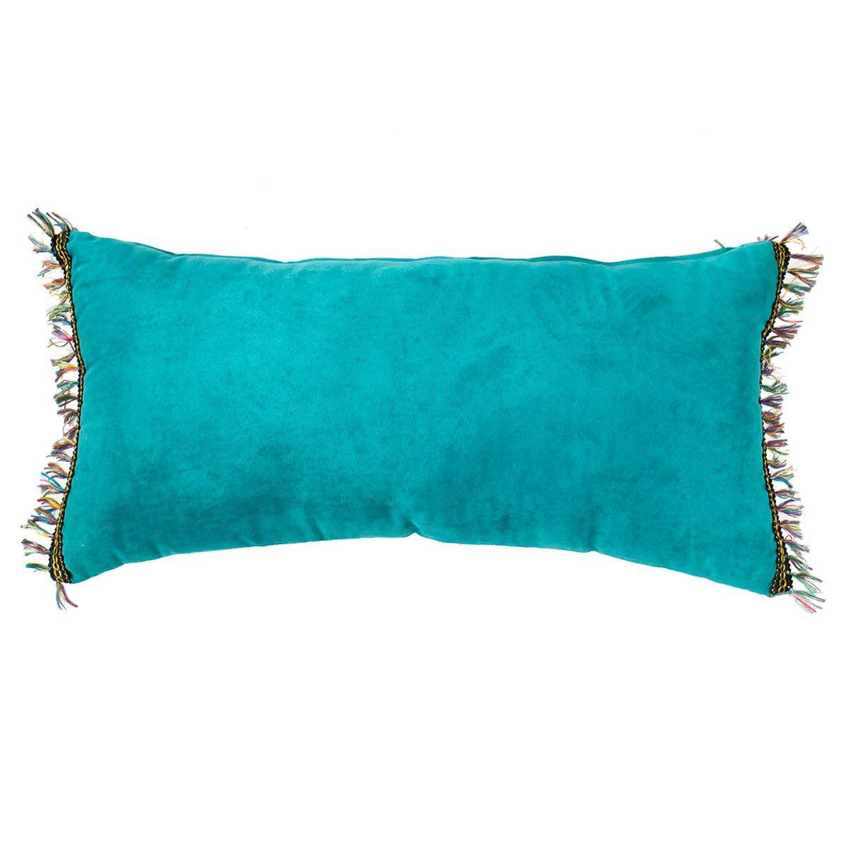 Coussin rectangle velours bleu turquoise