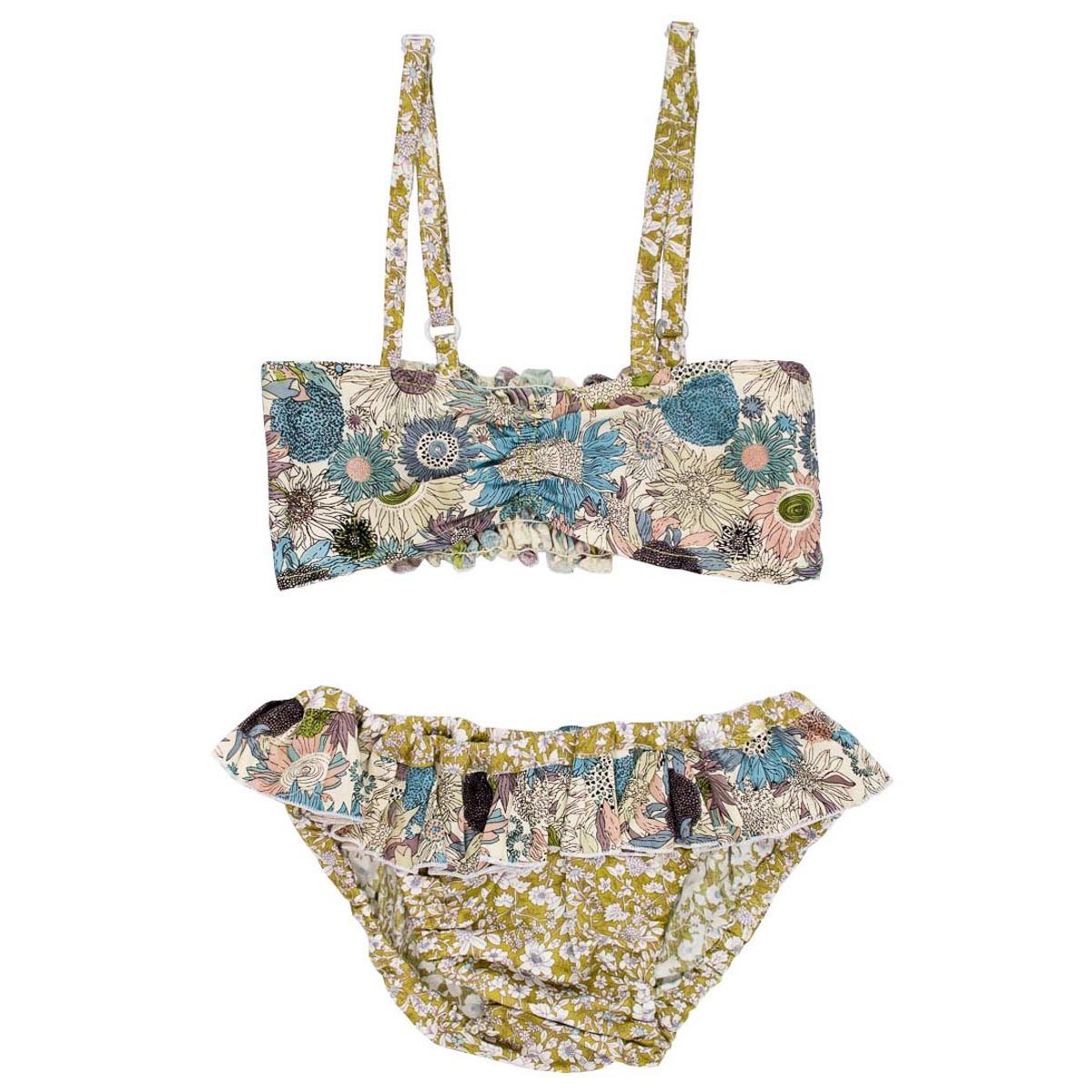 Bikini maillot de bain coton fille 4-10 ans vert olive et fleurs bleues