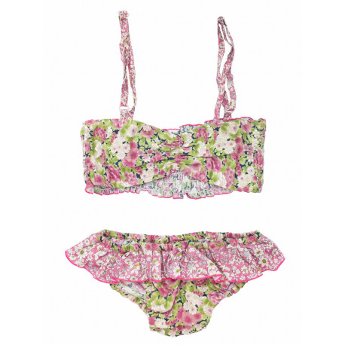 Bikini maillot de bain coton fille 4-10 ans vert pomme et rose pastel