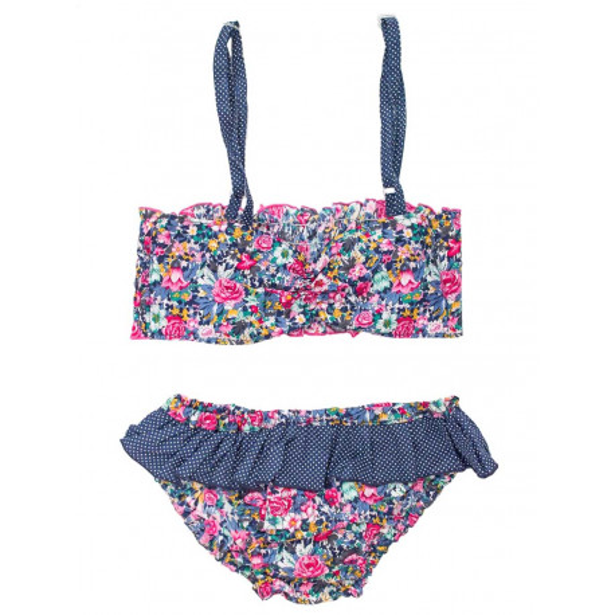 Bikini maillot de bain coton fille 4-10 ans bleu et rose à fleurs