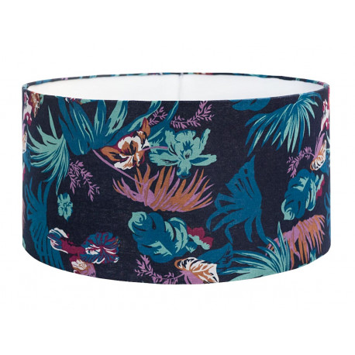 Grand abat-jour rond bleu nuit jungle et feuilles