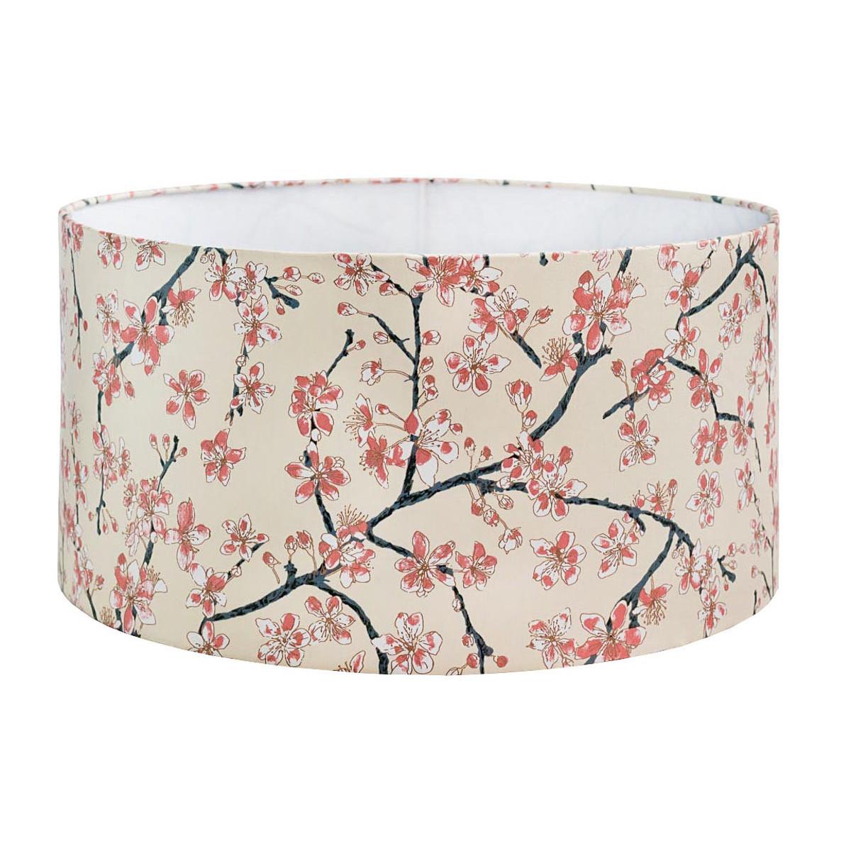Grand abat-jour rond beige crème et fleurs cerisiers