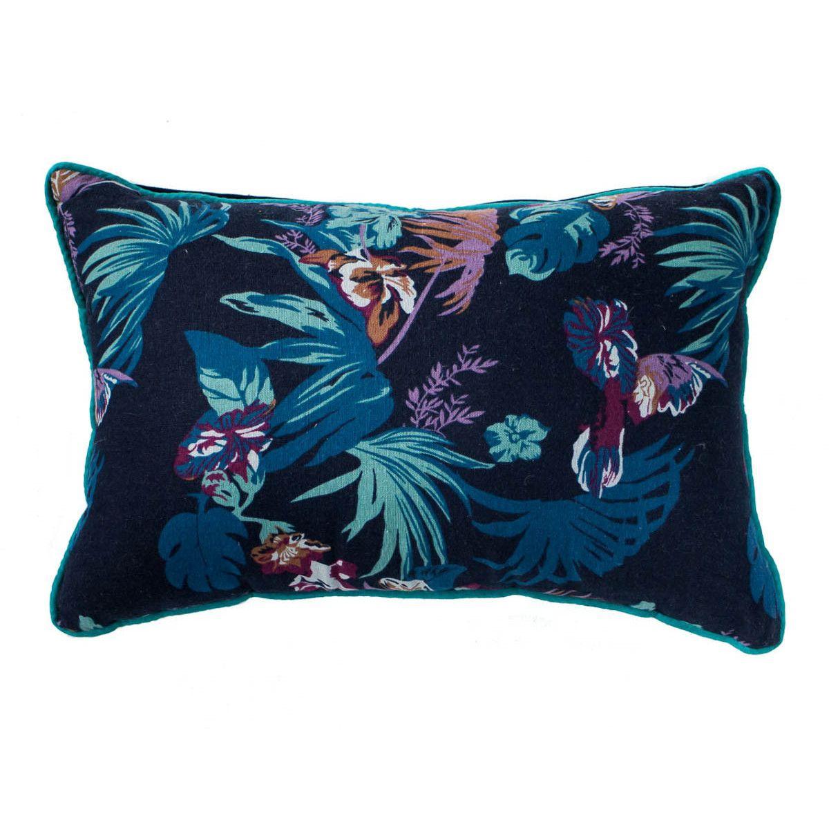 Petit coussin rectangle déhoussable bleu nuit jungle et feuilles