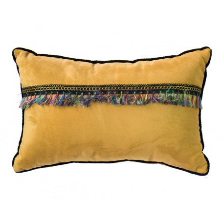 Petit coussin rectangle déhoussable velours jaune moutarde et franges