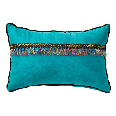 Petit coussin rectangle velours Turquoise
