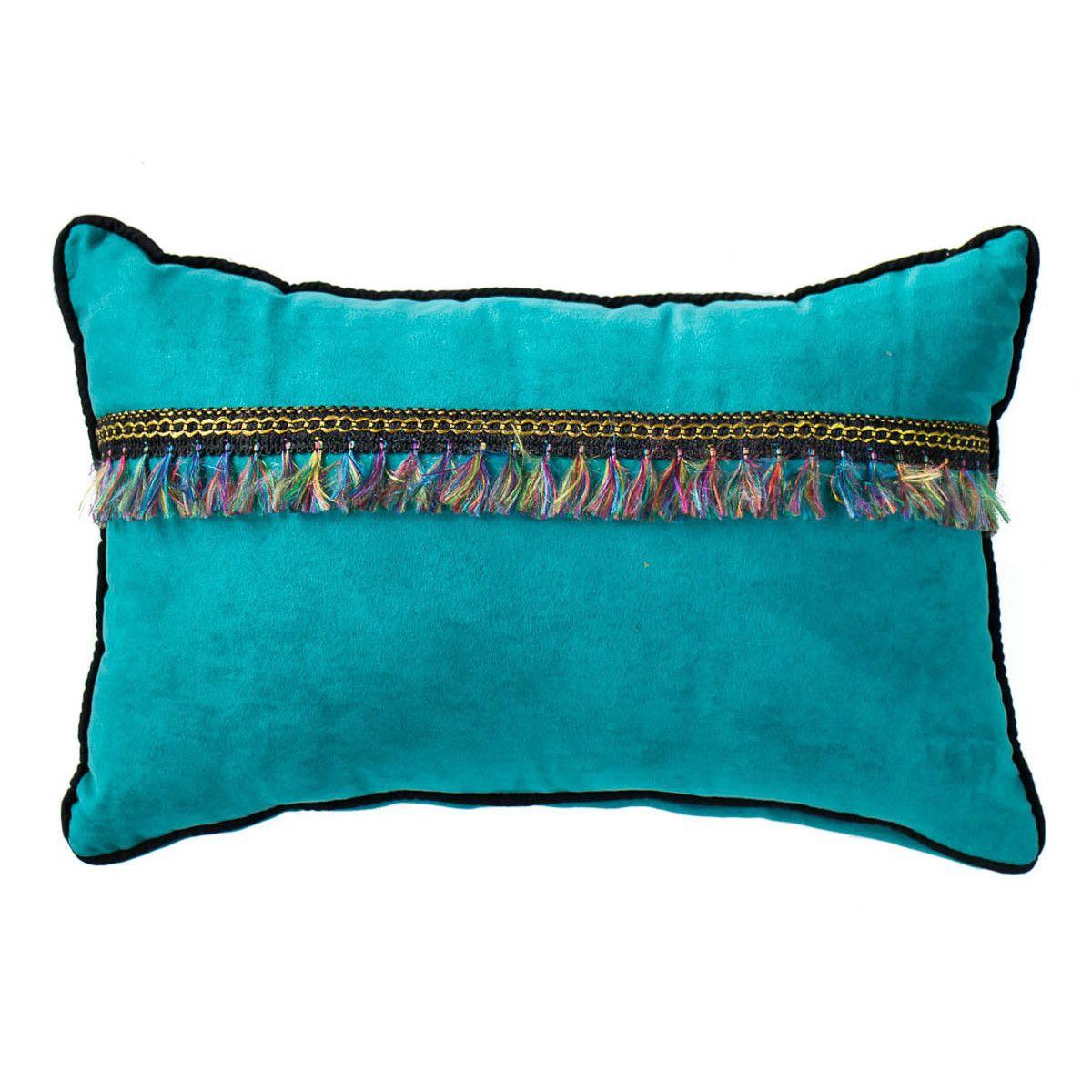 Petit coussin rectangle déhoussable velours bleu turquoise et franges