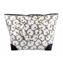 Grand sac cabas étanche tissu noir et fleurs coquelicot blanc