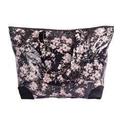 Grand sac cabas étanche tissu noir et fleurs cerisiers
