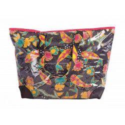 Grand sac cabas étanche tissu noir et poisson japonais rouge