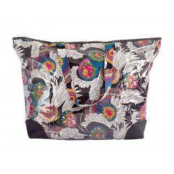 Grand sac cabas étanche tissu noir et fleurs multicolores
