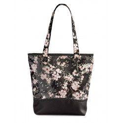 Sac cabas étanche tissu original noir et fleurs cerisiers