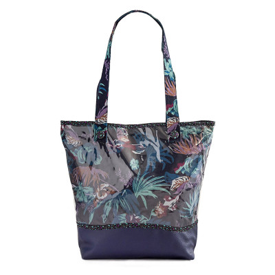 Sac cabas étanche tissu original bleu nuit jungle et feuilles