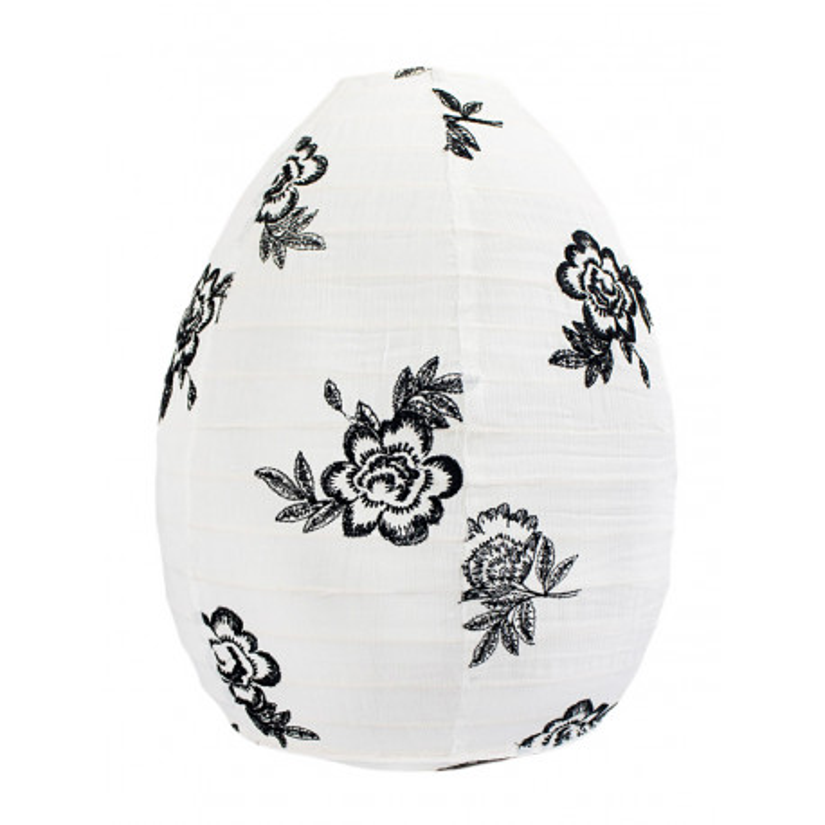 Lampion tissu boule japonaise ruche blanc et fleurs noires brodées