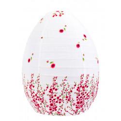 Lampion tissu boule japonaise ruche blanc et petites fleurs rose framboise