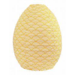Lampion tissu boule japonaise ruche jaune moutarde et blanc