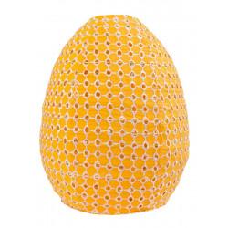 Lampion tissu boule japonaise ruche jaune moutarde ajouré
