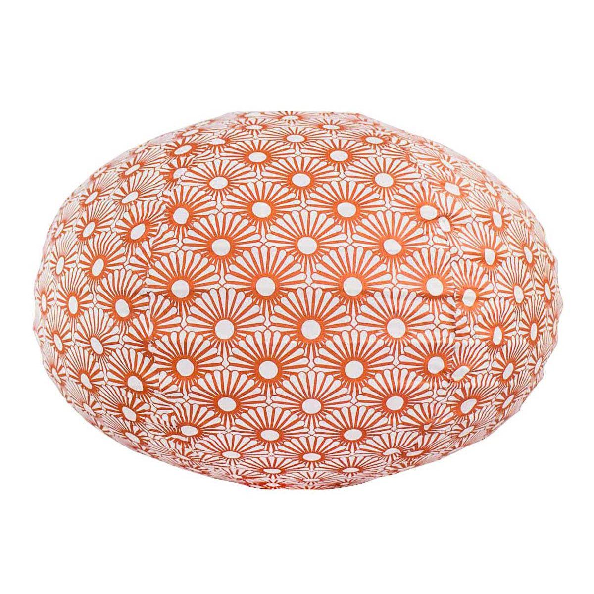 Lampion tissu boule japonaise ovale blanc et bronze cuivre