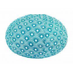 Lampion tissu boule japonaise ovale bleu pétrole et blanc