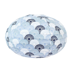 Lampion tissu boule japonaise ovale bleu gris