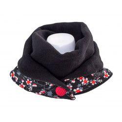 Echarpe polaire femme coton noire et fleurs cerisiers rouge