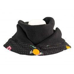Echarpe polaire femme coton noire et fleurs multicolore