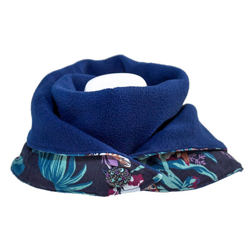 Echarpe polaire femme coton bleu nuit jungle et feuilles