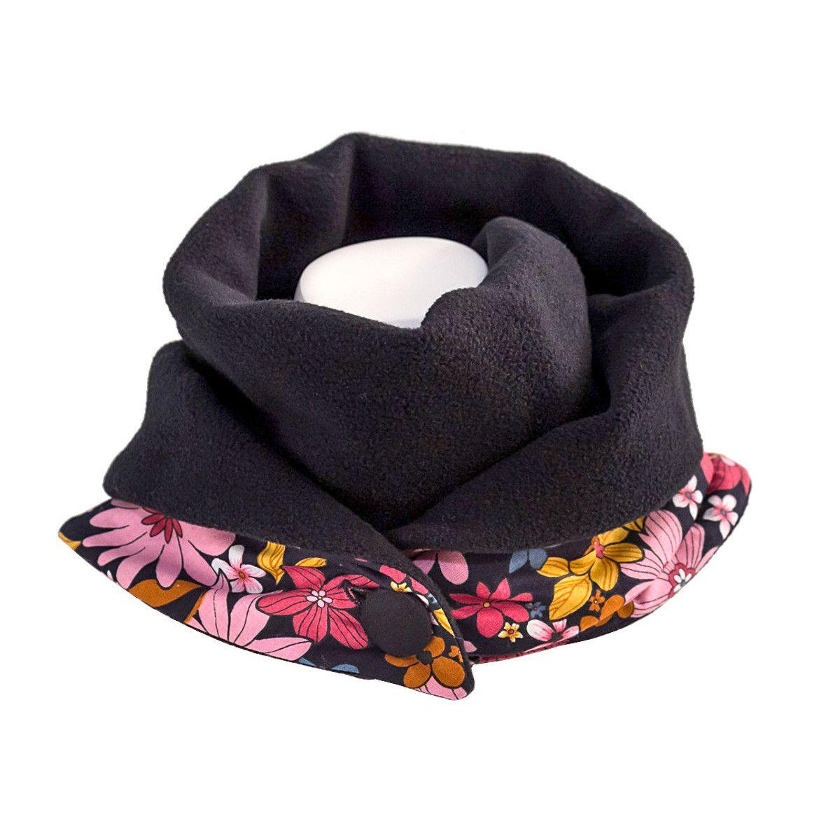 Echarpe polaire femme coton noir et fleurs rose