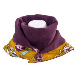 Echarpe polaire femme coton violet prune et jaune moutarde