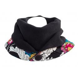 Echarpe polaire femme coton noir et fleurs