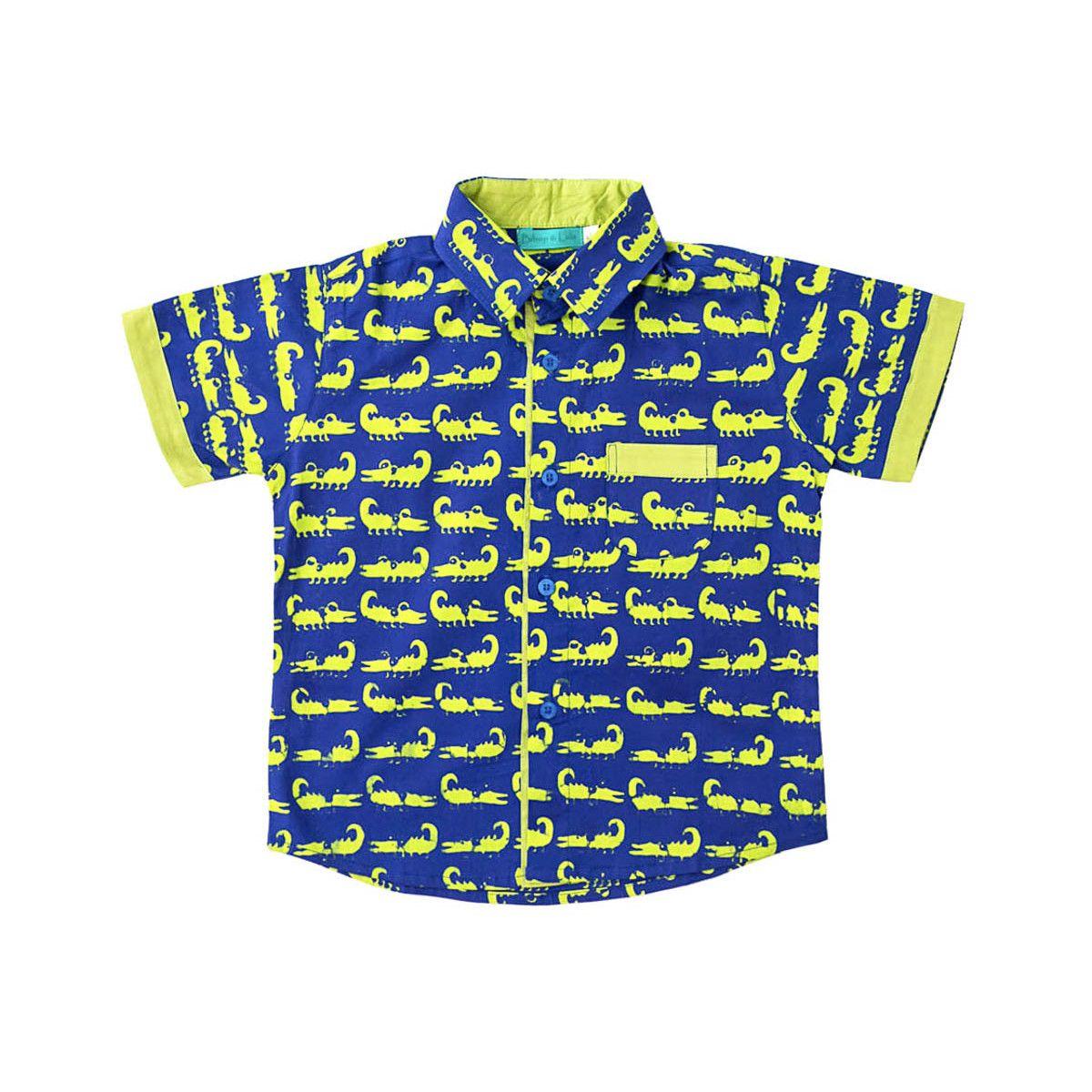 Chemise coton manches courtes garçon 2-10 ans bleu et vert crocodiles