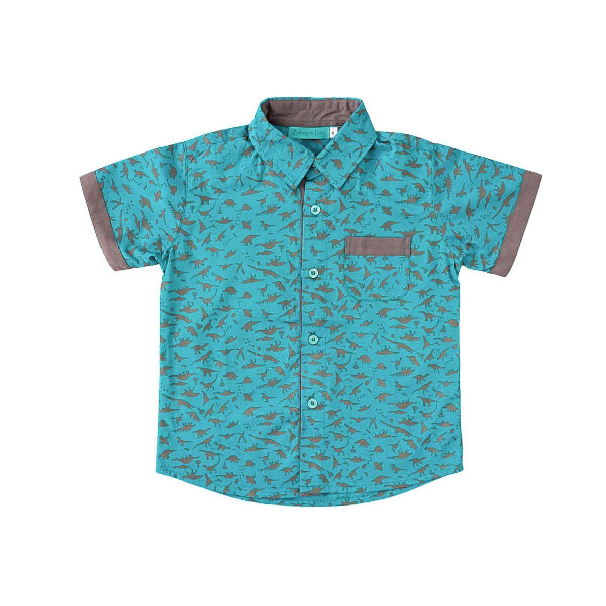 Chemise coton manches courtes garçon 2-10 ans gris et bleu turquoise dinosaure