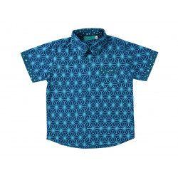 Chemise coton manches courtes garçon 2-10 ans bleu