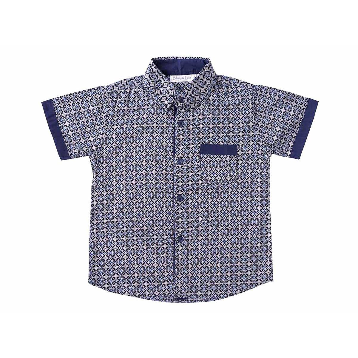 Chemise coton manches courtes garçon 2-10 ans bleu nuit