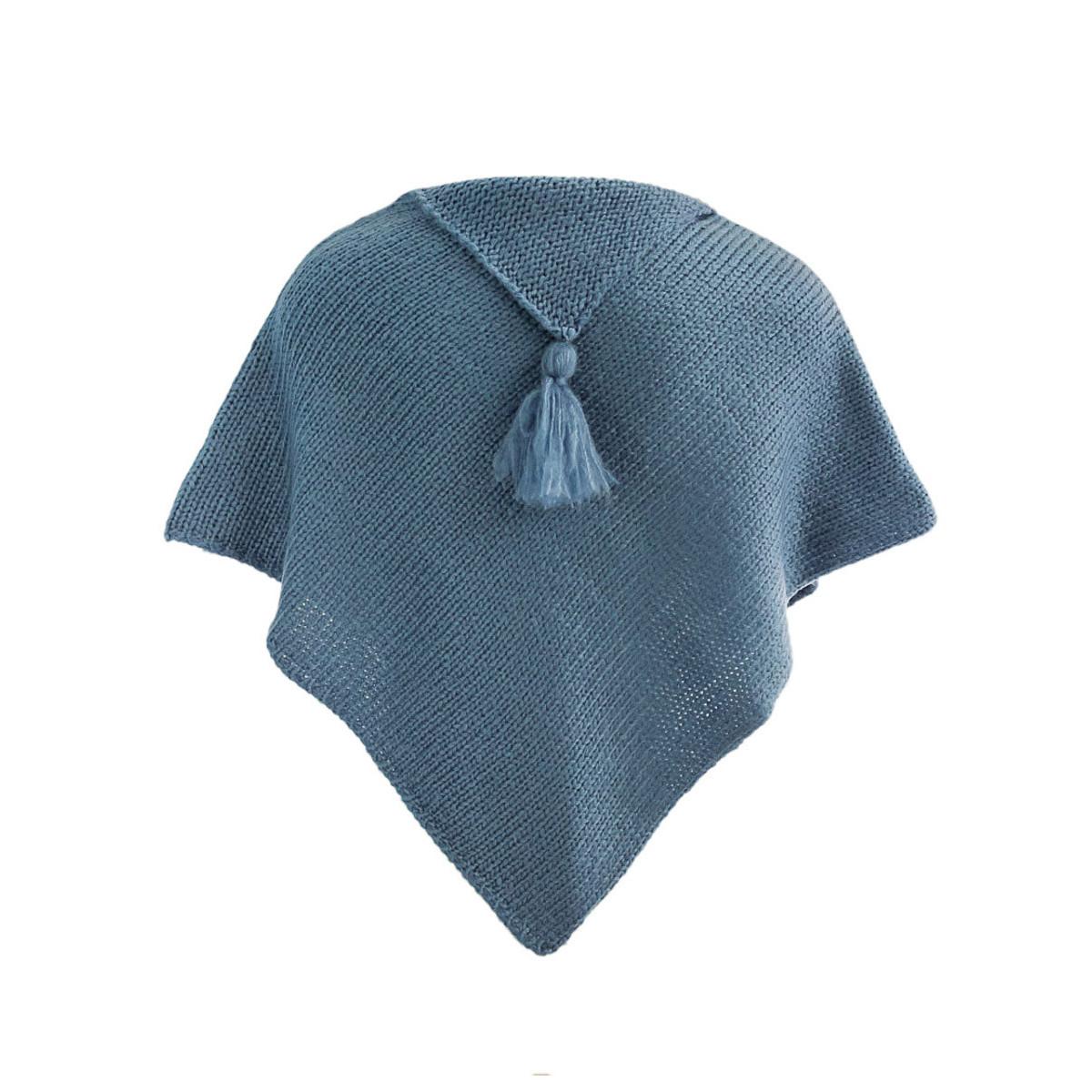 Poncho laine bébé bleu gris