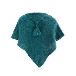 Poncho laine bébé Pétrole