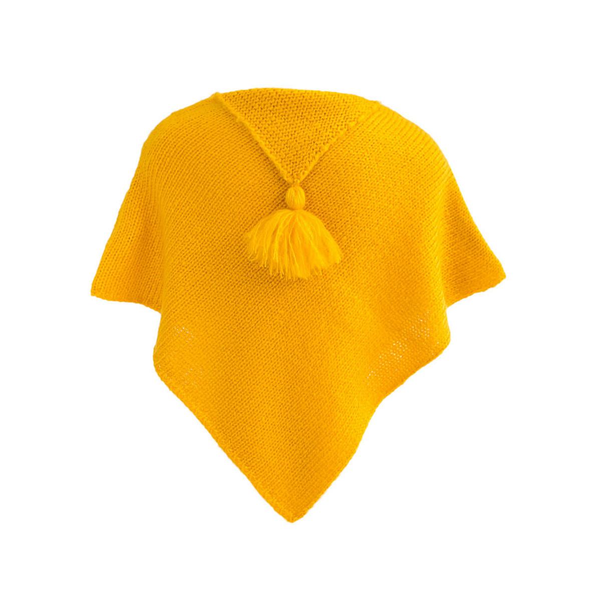 Poncho laine bébé jaune moutarde