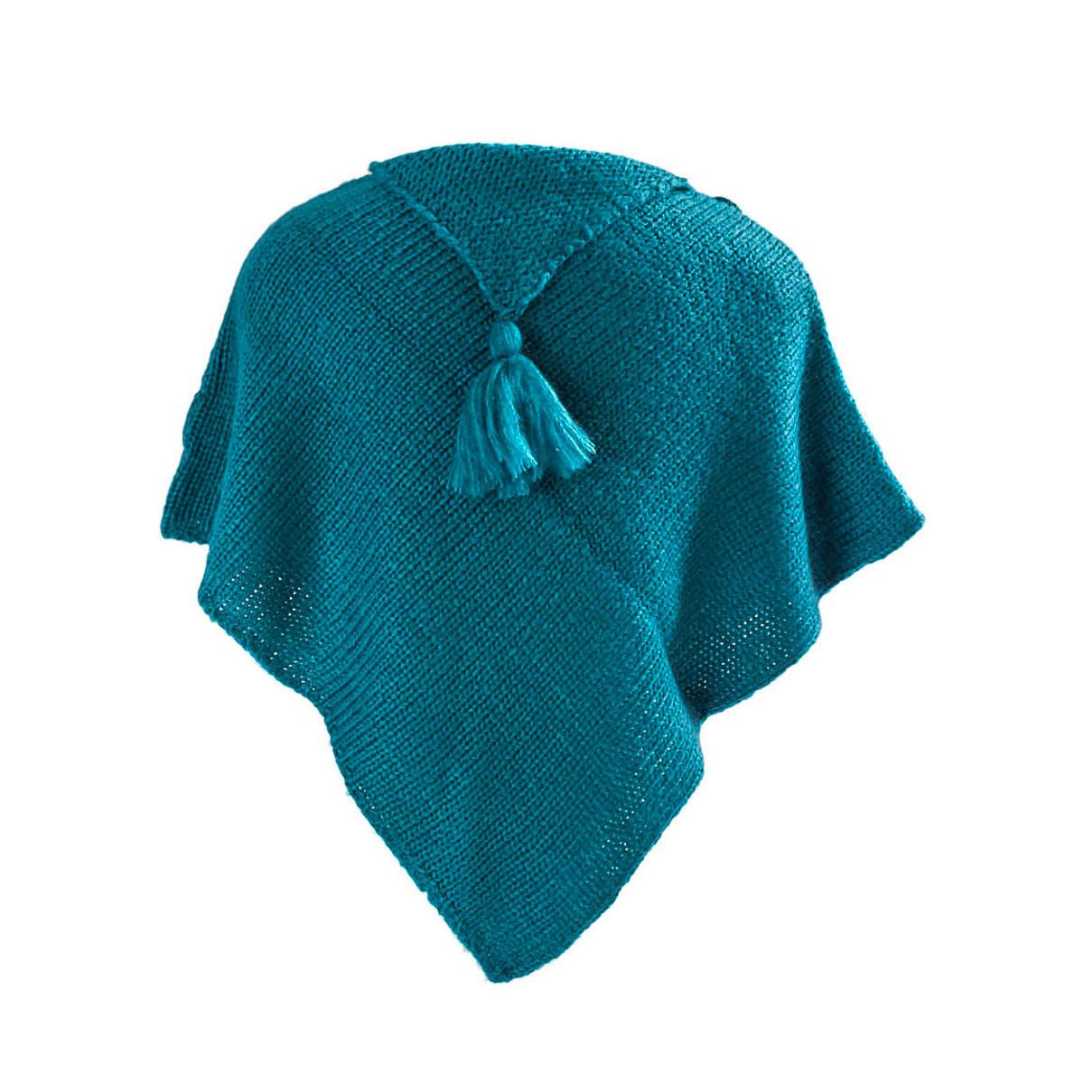 Poncho laine bébé bleu turquoise