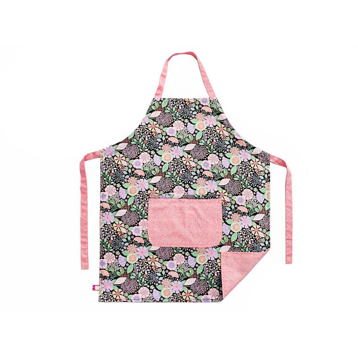 Tablier de cuisine enfant réversible rose et vert pastel à fleurs