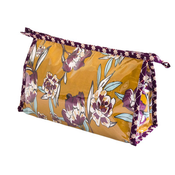Grande trousse de toilette violet prune et jaune moutarde à fleurs
