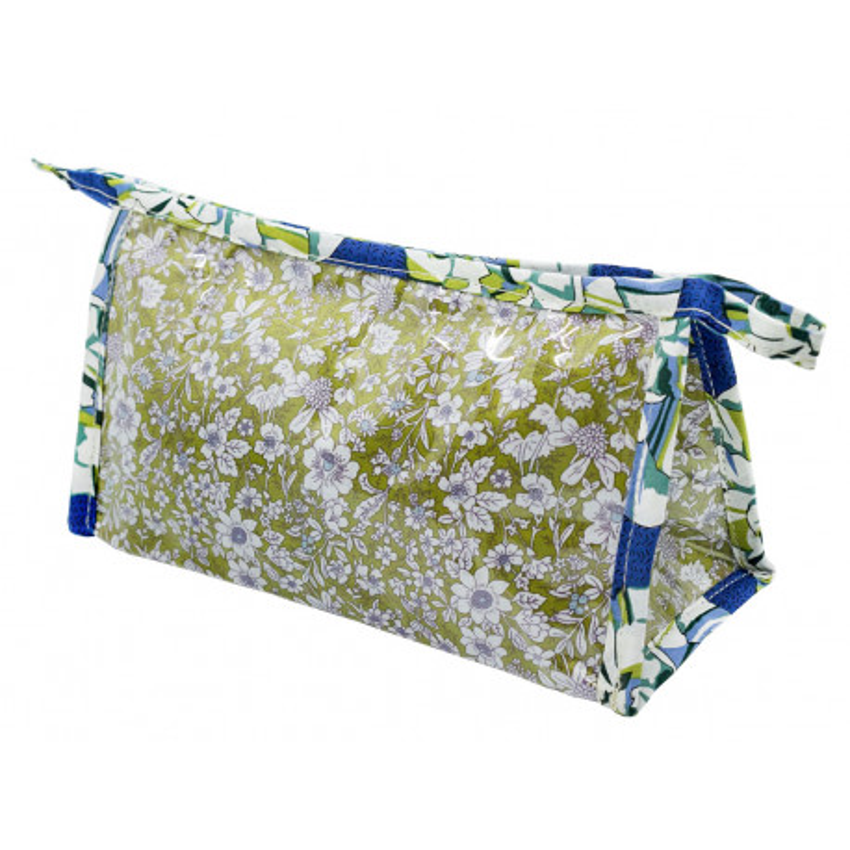 Petite trousse de toilette bleu et vert olive à fleurs